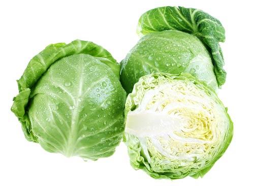 Белокочанная капуста с зелеными листьями